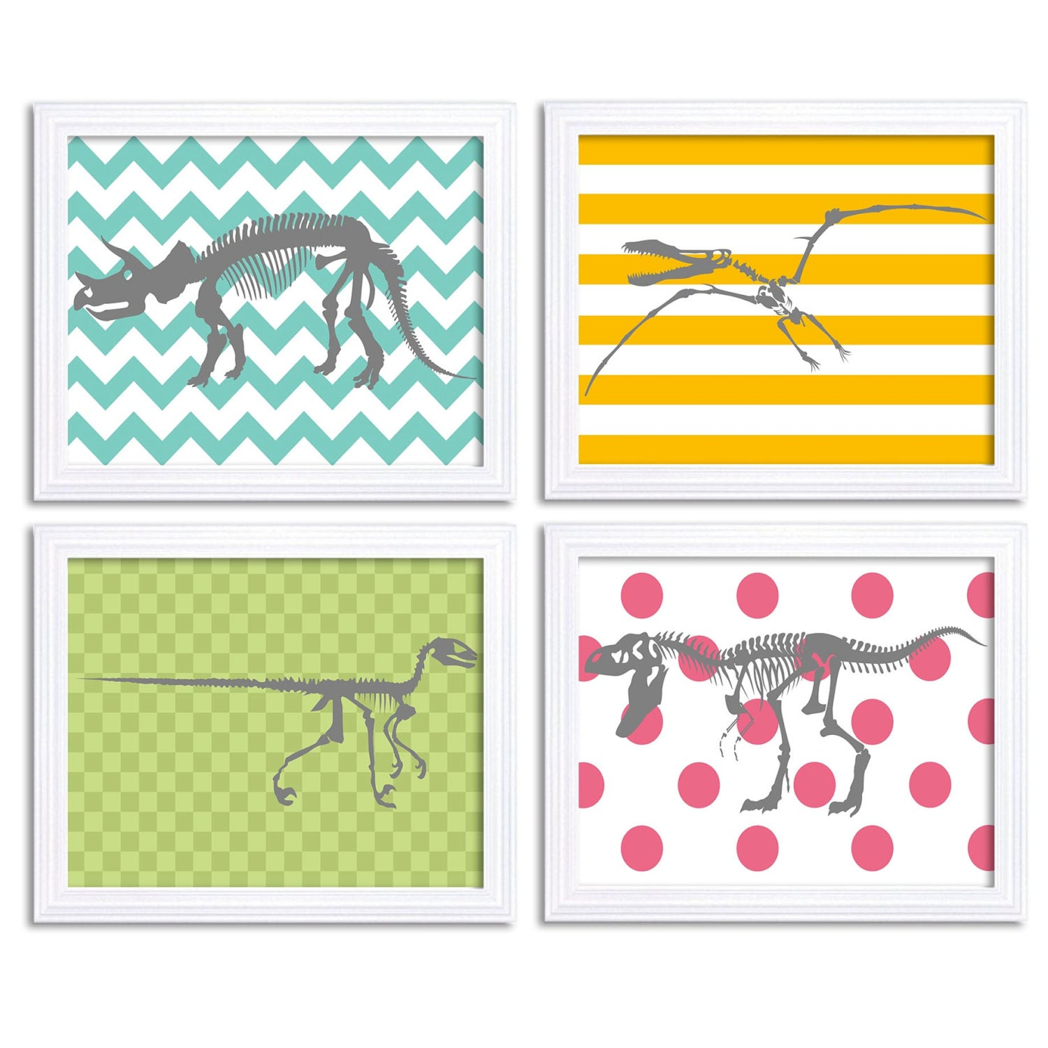 Dinosaur Nursery Art Set of 4 Print Bone Skeleton Yellow Grey Turquoise Blue Mint Stripes Tyrannosau