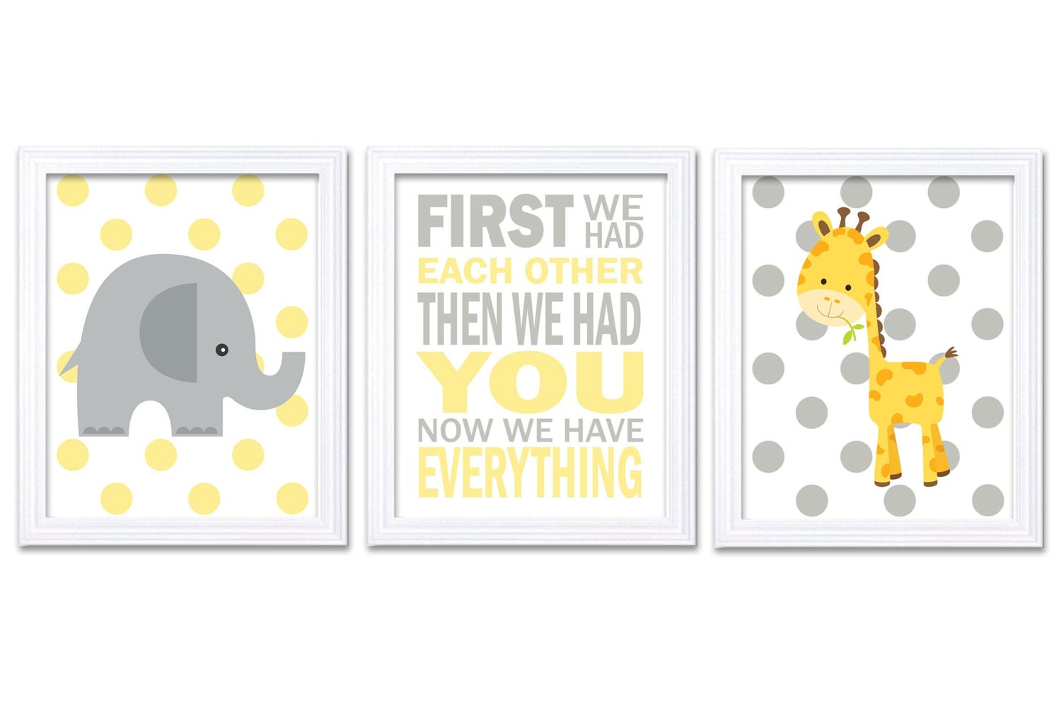 Nursery Wall Decor Set : Giraffe elephant nursery wall decor set of prints yellow