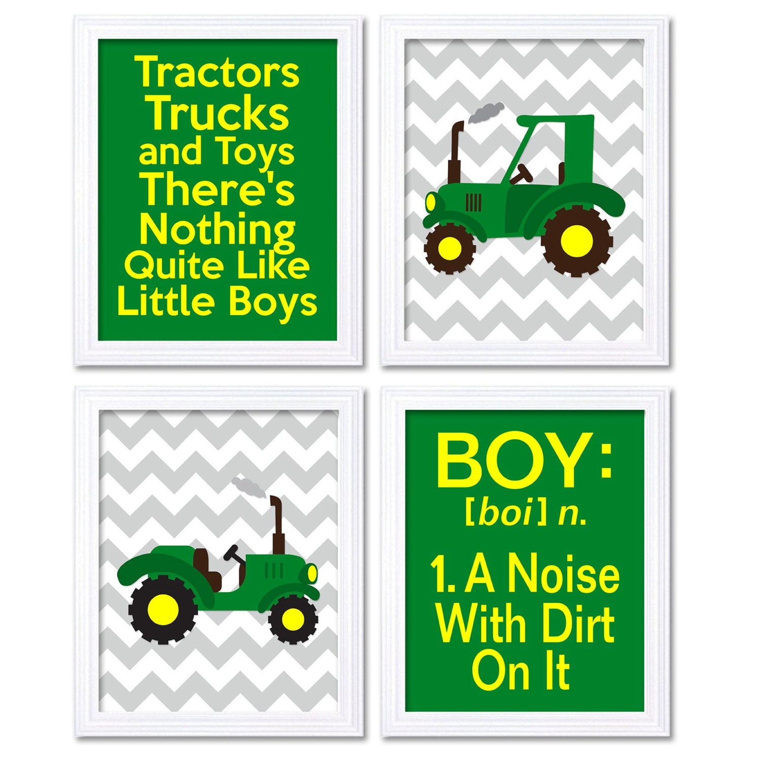 Nursery Art Tractors Trucks Toys Theres Nothing Quite Like Little Boys Prints Set of 4 Green Yellow