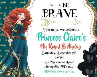 Brave, Princess Merida, Birthday Party Invitation - Printable or Printed