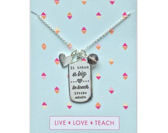 Teacher Gift Silver, Nanny Gift, Daycare Gift, Teacher Appreciation, Teacher necklace, end of year teacher gift, teacher present