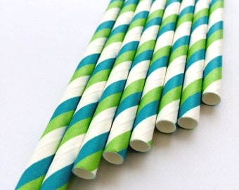Blue and green Striped Paper Straws