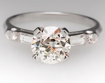 1930s Vintage 1.5 Carat Old European Cut Diamond Engagement Wedding Ring Platinum WM11045