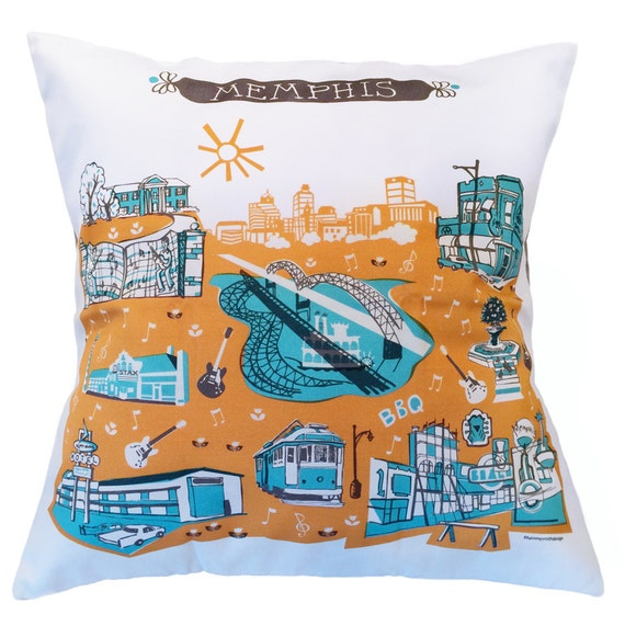 Memphis pillow cover home decor turquoise orange grey 16 x 16 - Home decor memphis tn image ...