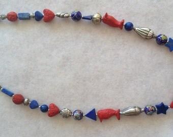 Vintage Lapis & Cinnabar Necklace