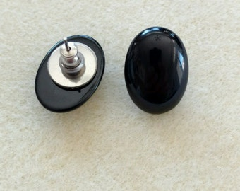 Vintage Black Onyx 20x15 Oval Stud Earrings