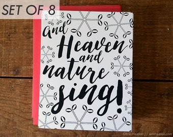 MUSIC NOTE holiday cards / And Heaven and Nature Sing Music Christmas cards / Music gift / Music notecard / Music teacher gift / Music cards