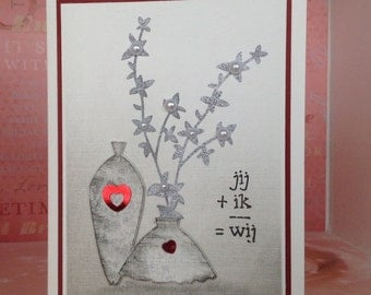 "Wedding greeting card ""you + I = we"""