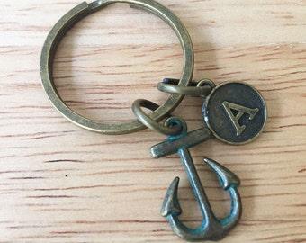 Anchor Keychain/Anchor Keyring/ Anchor Key Chain/ Sailor Keychain/ Boat Anchor Initial Keyring/ Travel Keychain