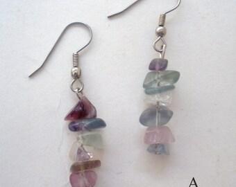 Fluorite Chip Earrings/ Stone Chip Earrings/ Natural Stone Earrings/ Natural Stone Chips/ Handmade in USA