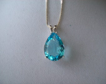 Created Aquamarine Pear Pendant in Sterling Silver