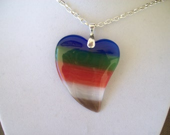 Multicolor Cat's Eye Heart pendant with chain
