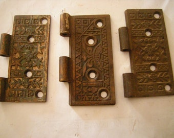 3 hinges parts-art deco hinges-art-crafts-assemblage-hardware-salvage-