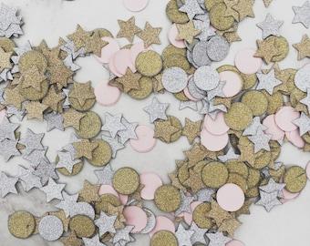 Glitter Confetti, Round, Stars, Pink, Silver, Gold.