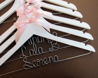 SALE 10% off Set of 8 Personalized Wedding Hangers. Perfect for Bridal party. Plus Ribbon Color of your choice!