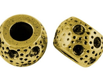Drum Shape European Beads, Large Hole Beads, Antique Golden, 11mm in diameter, 8mm thick, hole: 5mm  #131