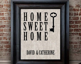 REAL ESTATE GIFT | New Homeowner Gift | Home Sweet Home Cotton Print | Wall Art Decor | Housewarming Gift | Gift for Couples