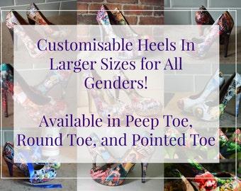 Custom Large Sizes Gender Neutral Comic Book Heels