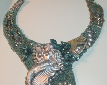 SOLD. Mermaid bead embroidery collar