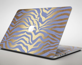 Gold Flaked Animal Blue Zebra - Apple MacBook Air or Pro Skin Decal Kit (All Versions Available)