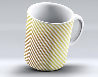 The Golden Diagonal Stripes  -ink Fuzed Ceramic Coffee Mug or Tea Cup