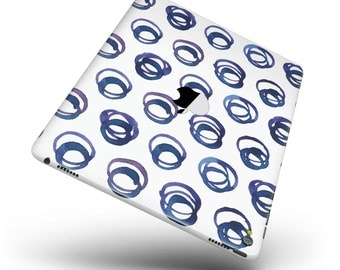 The Blue Watercolor Squigly Circles Full Body Skin Decal for the Apple iPad Pro, Air or Mini (All Models Available)
