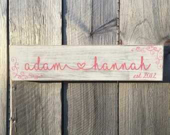 Wedding Wood Sign, Personalized Name and Anniversary Wood Sign, Personalized Rustic Wood Sign with Couples Name and Established Date