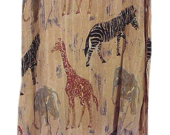 Women's La Cera African Animals Print Long Casual Dress 3 MOP Buttons and a Side Slit