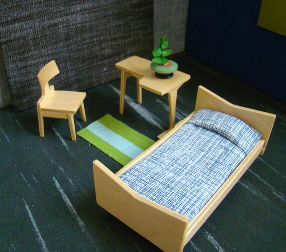 1:16 Scale Danish Modern Inspired Blond Bedroom Set With