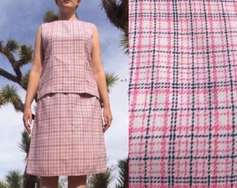 Vintage 1960s Skirt Suit - Plus Size Pink Plaid Two Piece Mad Men Suit