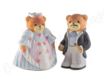 Vintage Princess and Prince Wedding Cake Topper, Kids Birthday Fantasy Fairy Tale Cake Topper, Enesco Lucy & Me Porcelain Bear Figurines Set