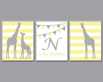 Giraffe Nursery Wall Print, Personalized Wall Art Prints, Yellow Gray Nursery Prints, Baby Boy or Girl Nursery Wall Art Print N257,258,259