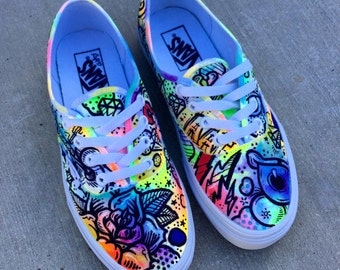 Battery Acid Hand Painted Vans Authentics Shoes