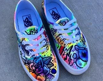 Battery Acid Hand Painted Vans Authentics Shoes