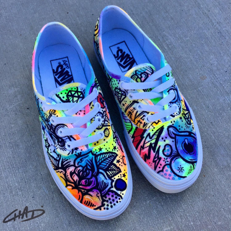 battery acid painted vans authentics shoes