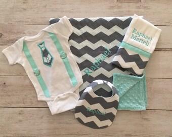 Personalized Baby Boy Bodysuit, Blanket, Bib and Burp Cloth Set