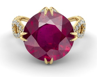 2.00 CT Natural 7MM Crown Ruby Unique Engagement Ring 14k Yellow Gold Large Ruby Ring