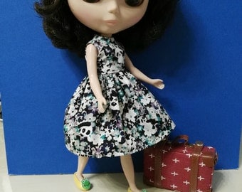Blythe Doll Outfit panda Print Dress
