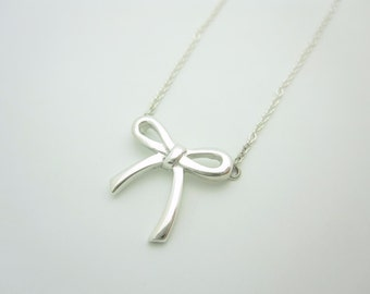 "Tiffany & Co. Sterling Silver Mini Bow Pendant Necklace 16"""