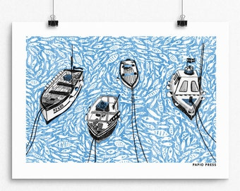 Boats on the Harbour - A4 Artists Print