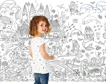 giant poster coloring book for girls mermaids - Giant Coloring Book