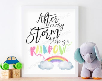 Rainbow Baby Nursery Wall Art, After Every Storm There Is A Rainbow, Pastel Rainbow Watercolor Nursery Art Print, PRINTABLE, 16 x 20