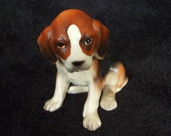 Vintage Beagle Puppy Dog Figure , Old Ceramic Dog Figurine , Hound, Beagle or English Foxhound
