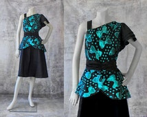 Vintage Dress 1980s Prom Dress Formal Dress One Shoulder Asymmetrical Teal Turquoise Black Retro Glam 80s Clothing Party