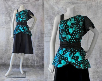 SALE Vintage Dress 1980s Prom Dress Formal Dress One Shoulder Asymmetrical Teal Turquoise Black Retro Glam 80s Clothing Party