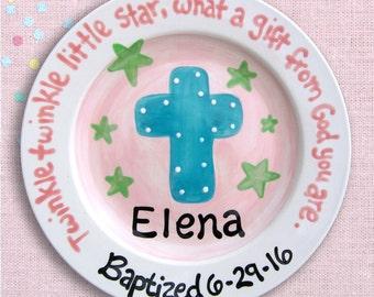 Personalized Cross Baptism Christening Ceramic Keepsake Plate , Godparent Godchild Gift - Baby Boy or Girl Gift