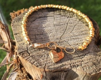 Gold Heart Pyrite Charm Bracelet