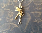 Custom for Lesley, gold fairy necklace with silver chain