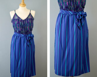 Vintage 80s Stripped A-line Skirt with Belt, High Waisted Skirt, Blue Stripes, Button Closure, Tie Waist, Boho Chic