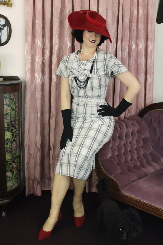 1930s Style Fashion Dresses Vintage Dress 1930s 30s cotton  / Mildred / Authentic vintage reproduction / White Plaid 30s dress / XS S M L Xl $184.56 AT vintagedancer.com